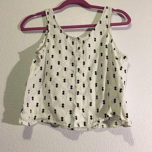 Button-up Sleeveless Crop Top